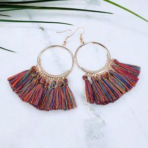 5 for $25 Multi color Hoop Tassel Fringe Earrings
